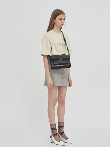 GABRIEL LEE BUTTON-FRONT MINI SKIRT WITH BELT - SAGE