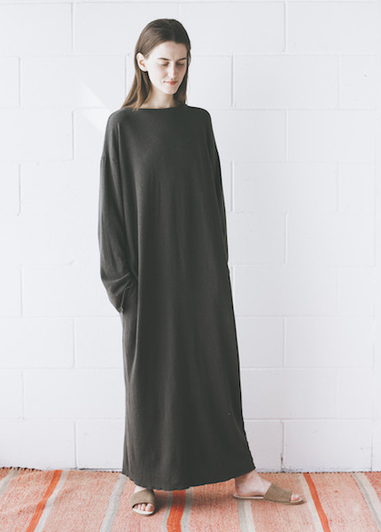 Black Crane - Jersey Long Dress in Charcoal