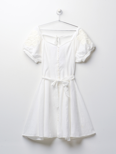 Innika Choo BUTTON DOWN SUMMER DRESS - White Spot Ramie
