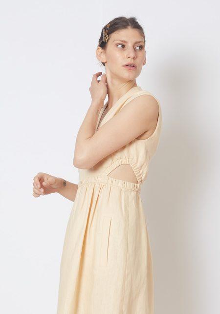 Tibi Linen Canvas V-Neck Cut Out Dress - Biscotti