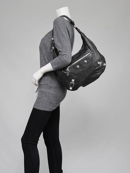 Vintage BALENCIAGA Chevre Leather Giant 21 Silver Hobo Bag - BLACK