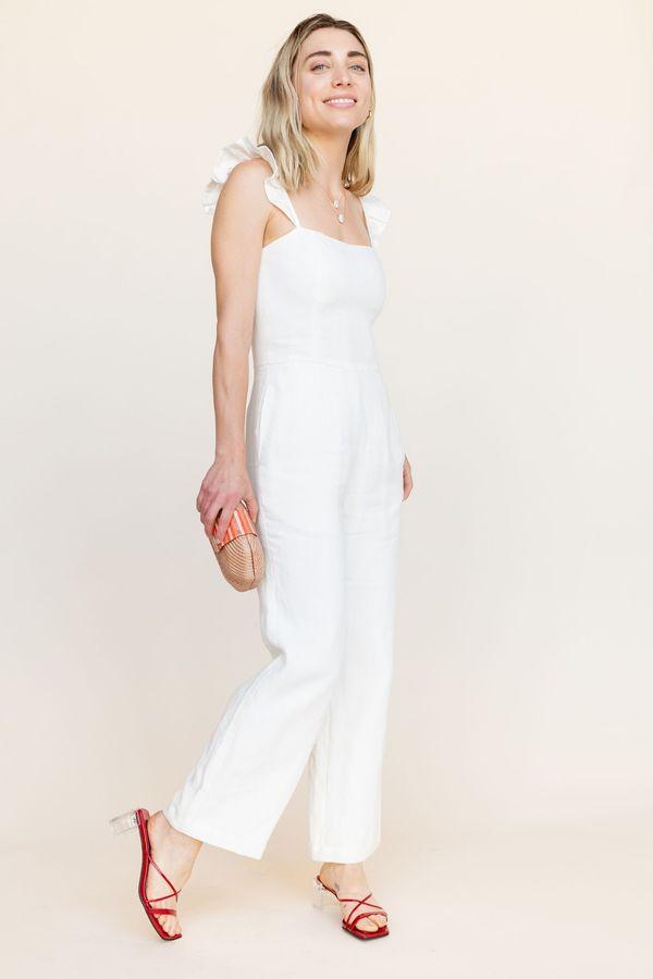 BETWEEN TEN Piper Linen Jumpsuit - White