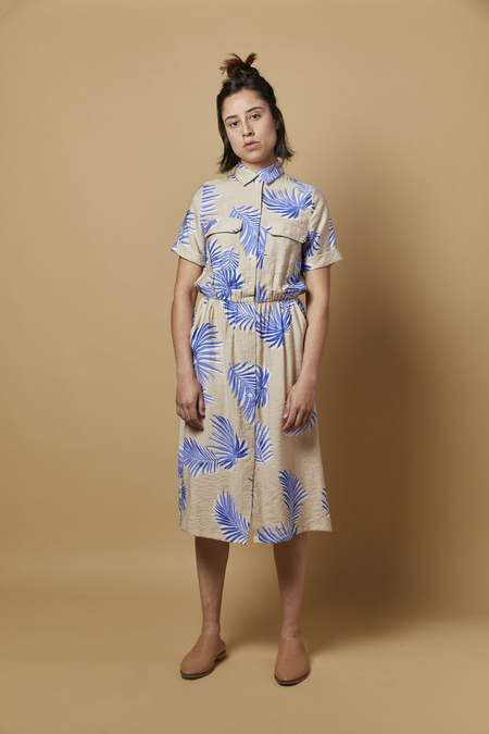 FRNCH Audelle Dress - Blue/Taupe