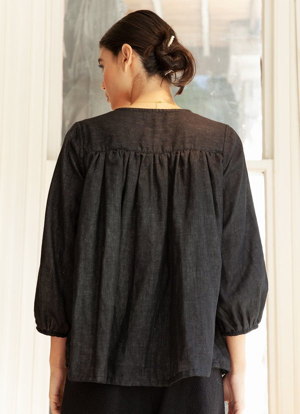 BEFORE MARCH Reversible Smock top - black/stone grey
