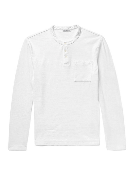 James Perse REVERSE JERSEY RUGBY POLO - WHITE