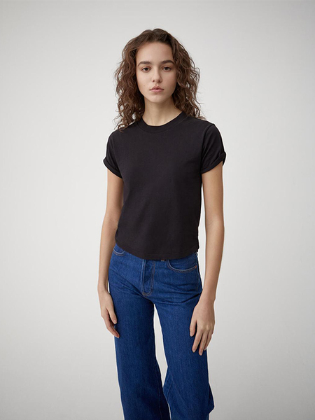 RE/DONE ROLLED SLEEVE T - Black