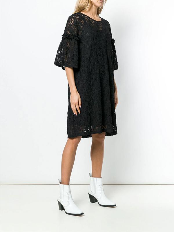 MM6 3/4 SLEEVE KNEE LENGTH DRESS - BLACK