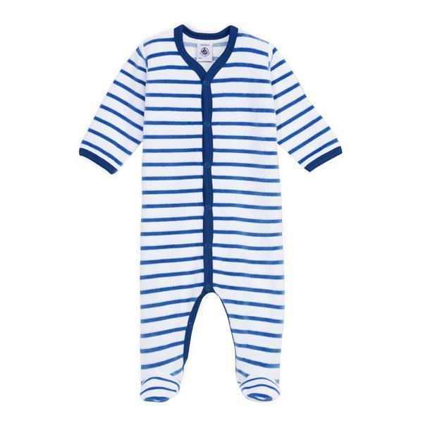 9a88596e3c7 KIDS Petit Bateau Long Sleeved Jumpsuit - Blue/White Stripes ...