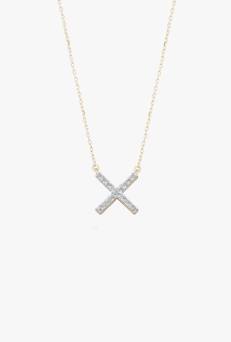 Adina Reyter Pave X Necklace - 14k Gold/Diamond