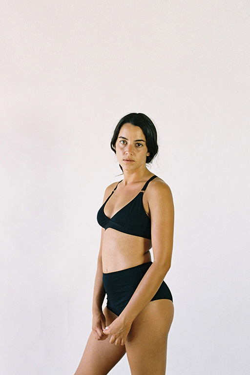 The Nude Label Triangle Crossback Bra- Black