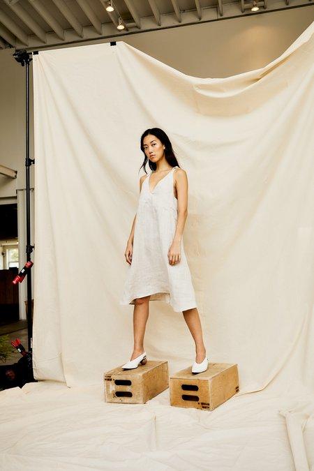 Devlyn Van Loon Tie Shoulder Dress - Ecru Linen