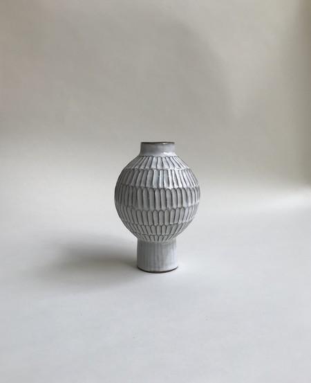 A.Cheng Small Globe Carved Vase - Glossy white glaze