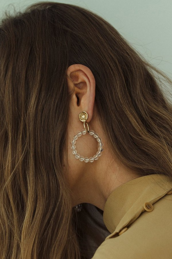 Another Feather Alcyone Quartz Hoops - bronze