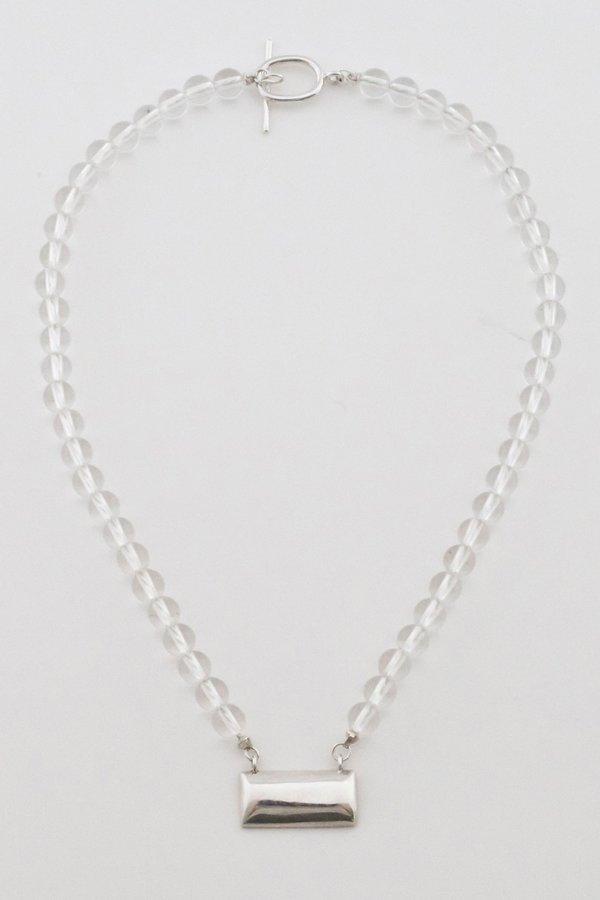 Another Feather Quartz Brick Necklace - silver