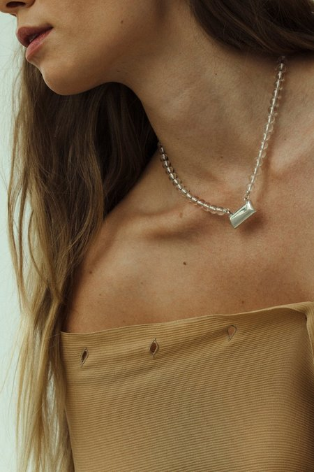 Another Feather Quartz Brick Necklace - silver
