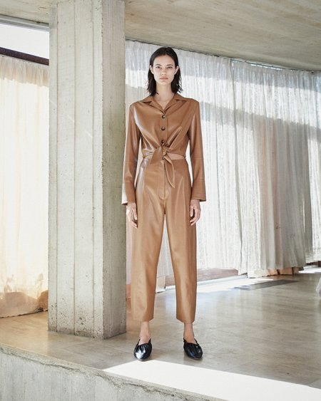 Nanushka ANA Tie front jumpsuit - Brown