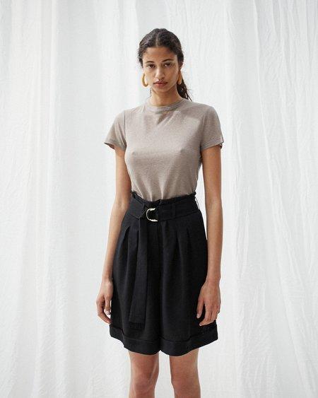 Nanushka COLORADO Pleat front shorts with belt - Black