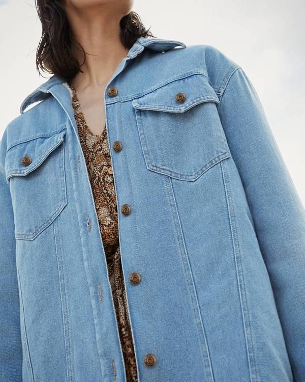 0bf139312 Nanushka NUSTA Denim jacket with faux shearling - 80's wash