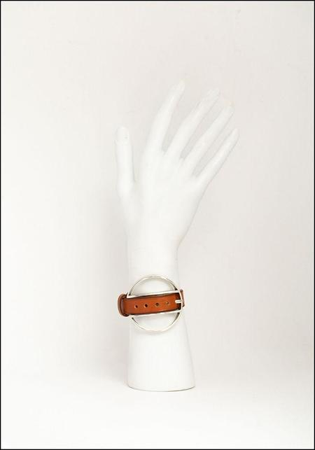 CXC Leather Wheel Buckle Bracelet - natural