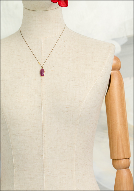 Margaret Solow Drop Necklace - Ruby/14KT Gold