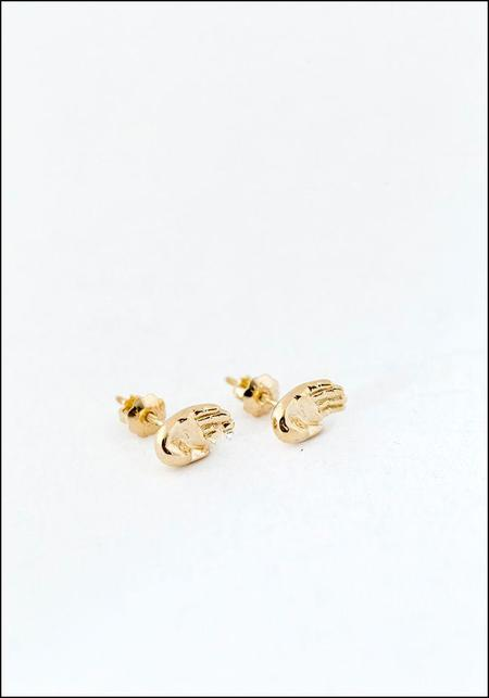Elaine Ho Talisman Hand Studs - 14Kt Gold