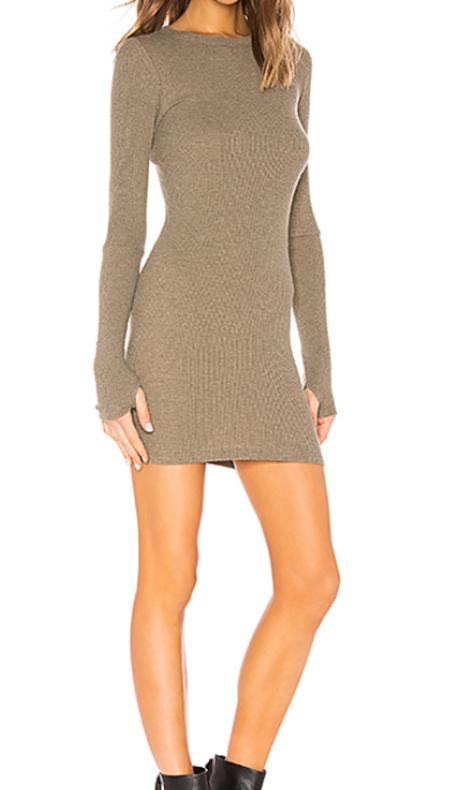 Enza Costa Thermal Mini Dress - Pebble