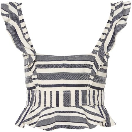 Marissa Webb Ezra Tank - Ivory with Navy Stripes