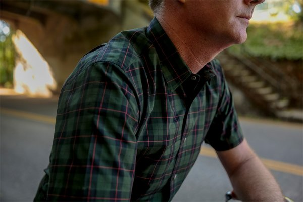 Product of Bob Scales SHORT SLEEVE DAILY DRIVER - DARK GREEN PLAID