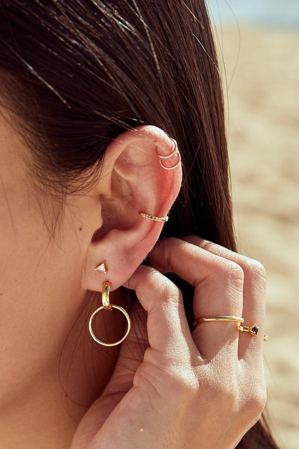 Quill Double Hoop Ear Knocker - Gold