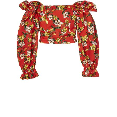Marissa Webb Kai Print Top - Magnolia Red
