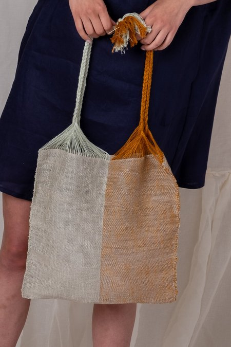 MARTA BUDA TWO TONE WARP BAG - SEA FOAM/TURMERIC