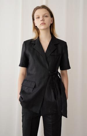 AMONG SEOUL A Linen Strap Jacket - BLACK