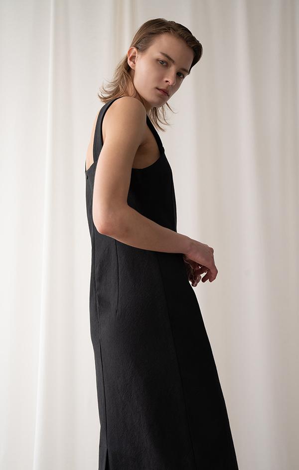 AMONG SEOUL COTTON Sleeveless DRESS - BLACK