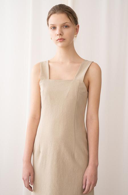 AMONG SEOUL COTTON Sleeveless DRESS - BEIGE