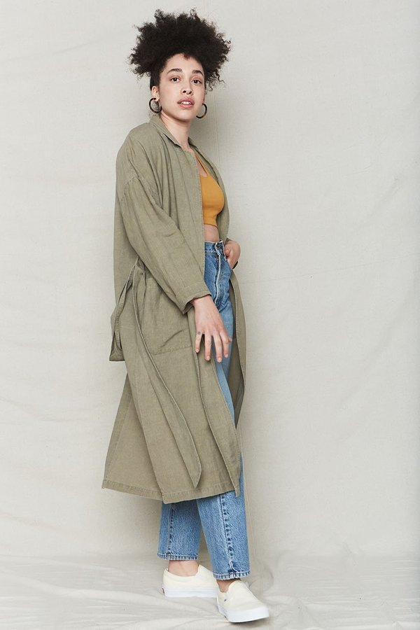 back beat rags Plant Dyed Linen Easy Robe - Stone