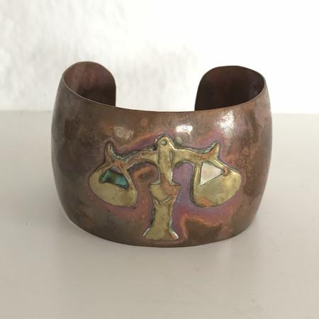 Vintage MEX Handmade 1960's Mayan cuff - copper/brass
