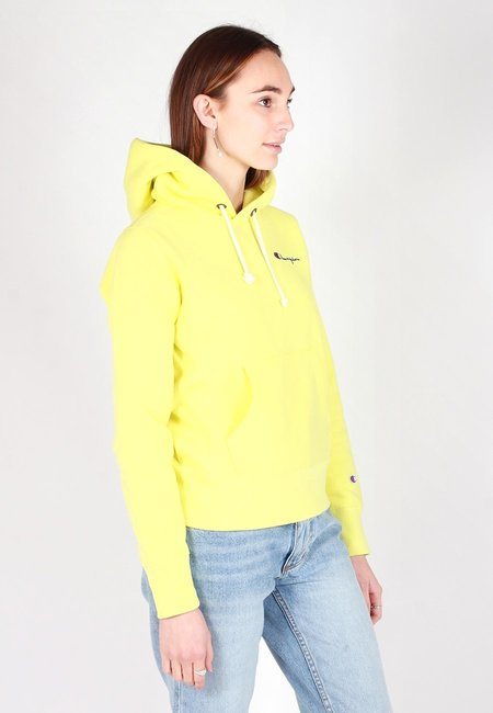 Champion Europe Mini Script Reverse Weave Hoodie - Lime Yellow