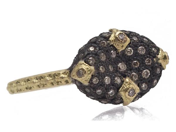Armenta Old World Bean Shaped Ring with Champagne Diamonds