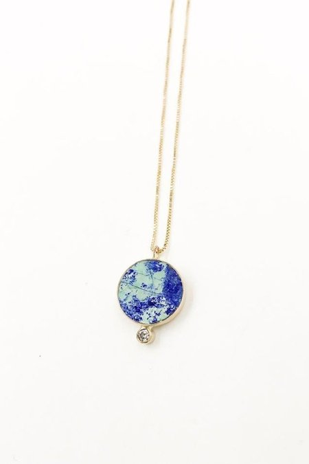 Young In The Mountains Azurite Solis Necklace - 14k Gold