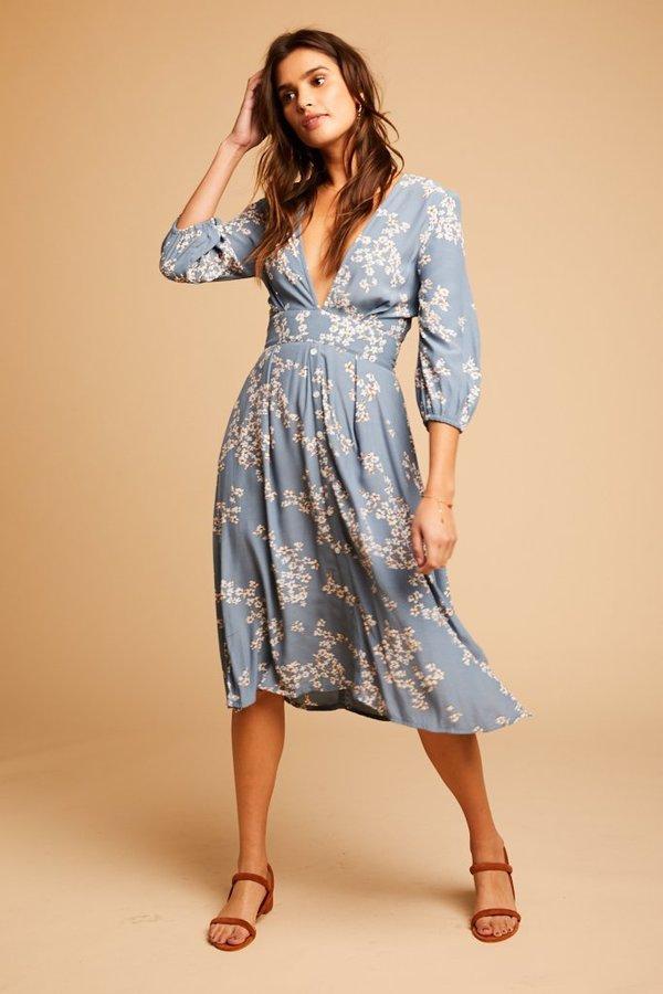 Faithfull The Brand Chloe Midi Dress - multi on Garmentory