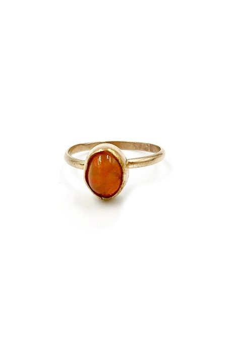 Broken Arrow Apache Ring - 14K gold/Fire Opal