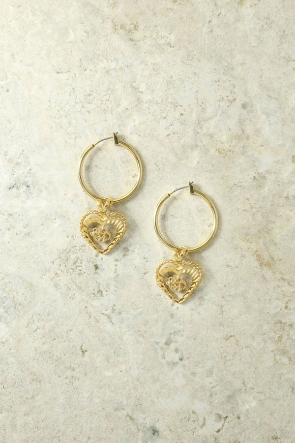Vanessa Mooney Adorar Heart Earrings - Gold