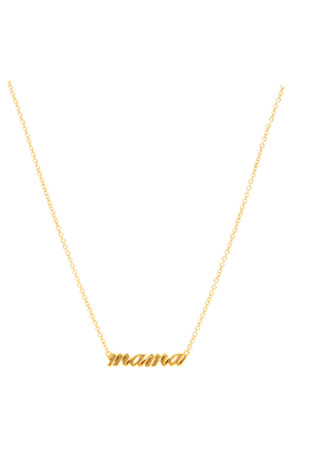 Jurate Brown Gold Cursive Mama Necklace - 14K Gold plated