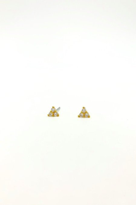 Five and Two CZ Elsie Earrings - 12KT gold plated/cubic zirconia