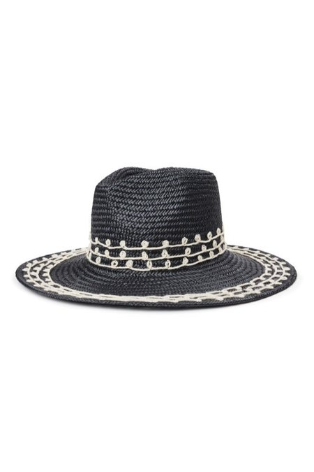 Brixton Joanna Embellished Hat - Black Straw