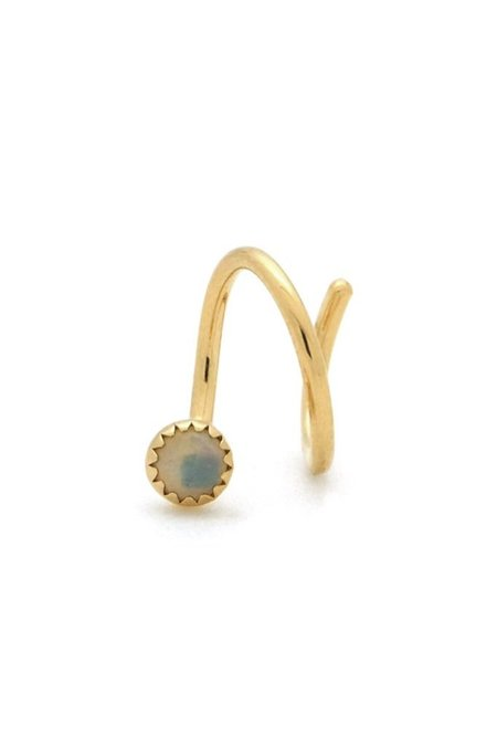Jurate Brown Opal Screw Single Left  Earring - Gold