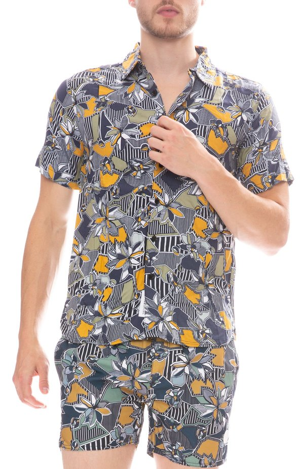 Native Youth Geographic Floral Shirt - Navy