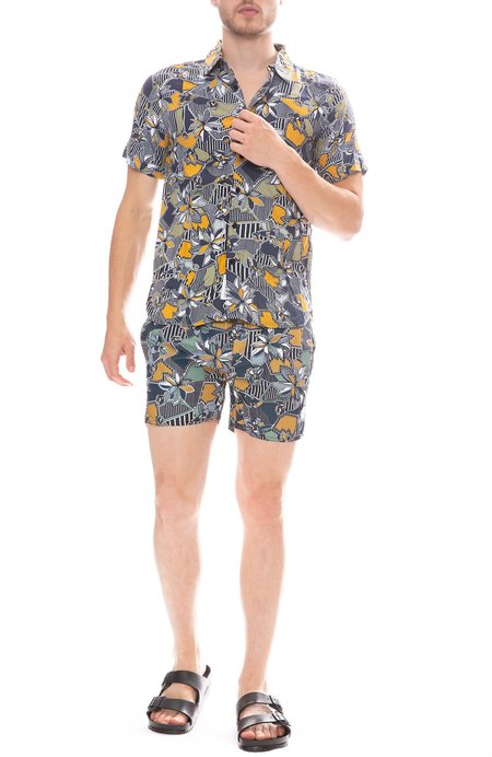 Native Youth Geographic Floral Swim Short - Navy