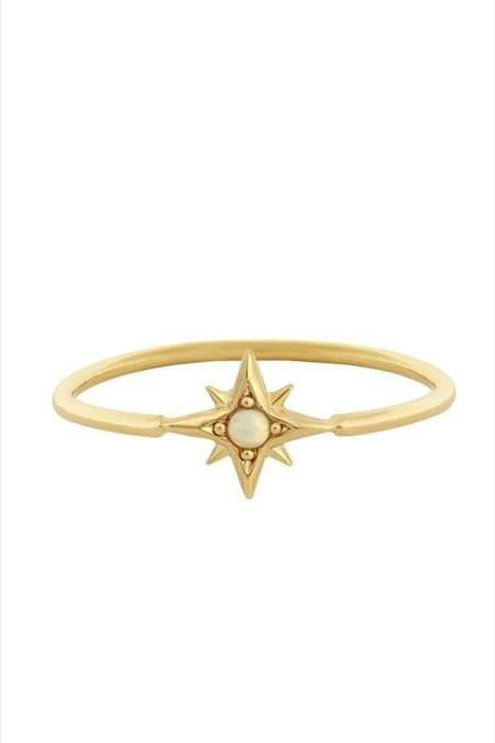 Five and Two Atlas Ring - Gold/Opal