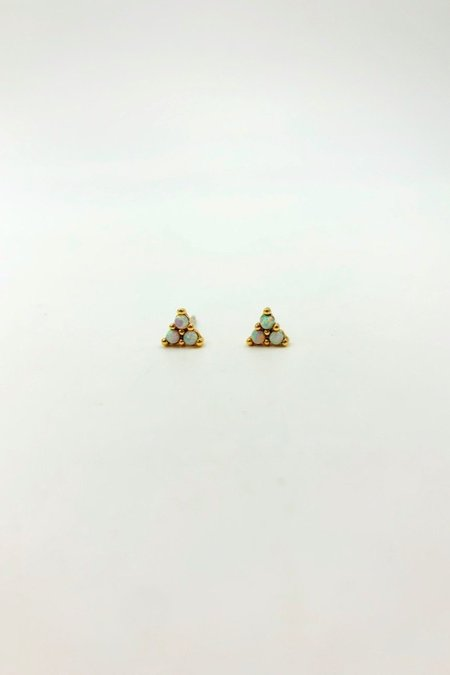 Five and Two Elsie Earrings - Gold Opal